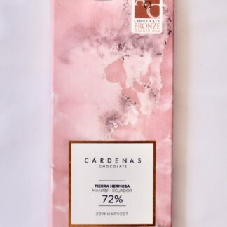 """72%. London Academy of Chocolate Award Winner 2018. Enjoy the sophisticated floral, fruity, nutty and caramel nuances of the Arriba Nacional cacao. Intoxicating dark chocolate named """"Tierra Hermosa"""" (Beautiful Land) after its origin Manabí, Ecuador; it's our signature chocolate. In addition to its unique flavour, this chocolate has many symbols: it evokes heritage, femininity, delicacy, resilience, provenance"""